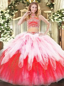 Enchanting Multi-color Two Pieces Beading and Ruffles 15th Birthday Dress Backless Tulle Sleeveless Floor Length