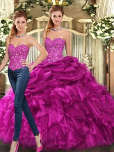 Hot Sale Sleeveless Floor Length Beading and Ruffles Lace Up Sweet 16 Quinceanera Dress with Fuchsia