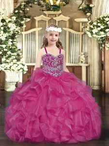 Fuchsia Pageant Dress for Teens Party and Quinceanera with Beading and Ruffles Straps Sleeveless Lace Up