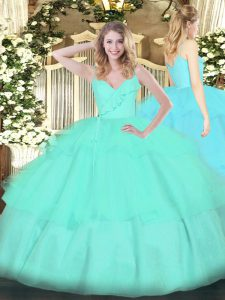 Custom Design Apple Green Organza Zipper Ball Gown Prom Dress Sleeveless Floor Length Ruffled Layers
