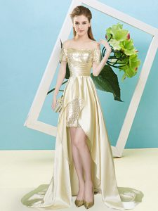 Unique Light Yellow Short Sleeves Sequins High Low Prom Gown