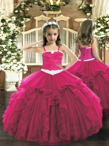 Simple Hot Pink Lace Up Straps Appliques and Ruffles Pageant Dresses Tulle Sleeveless
