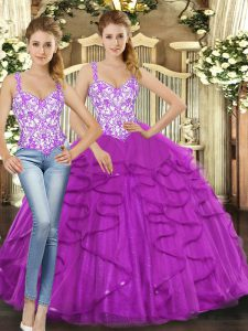 Ball Gowns Vestidos de Quinceanera Fuchsia Straps Tulle Sleeveless Floor Length Lace Up