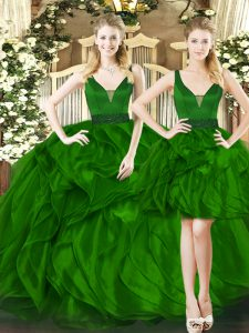 Popular Dark Green Ball Gowns Beading and Ruffles Sweet 16 Dress Lace Up Tulle Sleeveless Floor Length