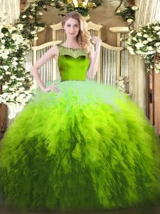 Luxury Multi-color Tulle Zipper Scoop Sleeveless Floor Length Ball Gown Prom Dress Beading and Ruffles