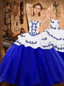 Fantastic Sleeveless Floor Length Embroidery Lace Up Sweet 16 Dress with Royal Blue