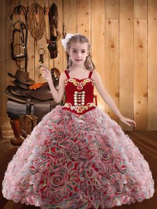 Red Sleeveless Floor Length Embroidery and Ruffles Lace Up Winning Pageant Gowns