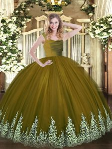 Top Selling Brown Straps Neckline Lace and Appliques 15 Quinceanera Dress Sleeveless Zipper