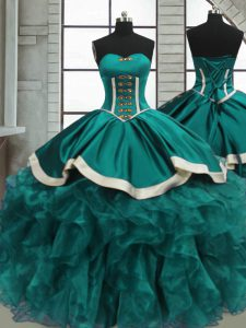Sleeveless Organza Floor Length Lace Up Vestidos de Quinceanera in Teal with Beading and Ruffles