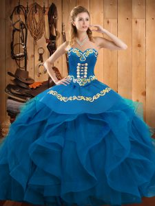 Adorable Sleeveless Floor Length Embroidery and Ruffles Lace Up Vestidos de Quinceanera with Blue