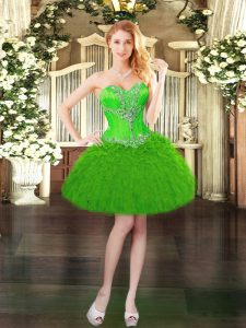 Sleeveless Organza Mini Length Lace Up Prom Gown in Green with Beading and Ruffles
