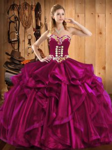 Inexpensive Fuchsia Sleeveless Organza Lace Up Ball Gown Prom Dress for Military Ball and Sweet 16 and Quinceanera