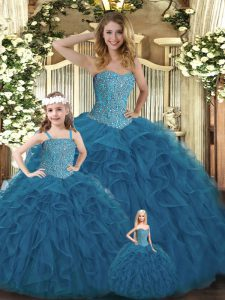 Dynamic Sweetheart Sleeveless Organza Quinceanera Gown Beading and Ruffles Lace Up