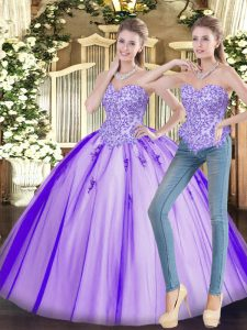 Lavender Sleeveless Floor Length Beading Lace Up Vestidos de Quinceanera