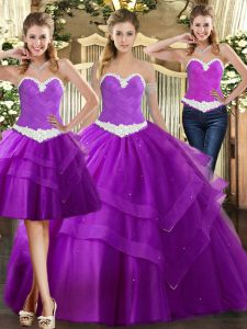 Pretty Purple Quinceanera Dresses Military Ball and Sweet 16 and Quinceanera with Appliques Sweetheart Sleeveless Lace Up