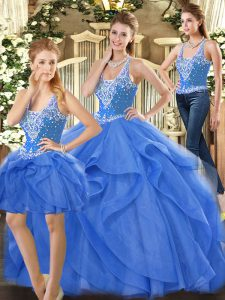 Floor Length Lace Up Vestidos de Quinceanera Blue for Military Ball and Sweet 16 and Quinceanera with Beading and Ruffles