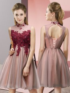 Cheap Peach Lace Up High-neck Appliques Bridesmaid Dresses Tulle Sleeveless