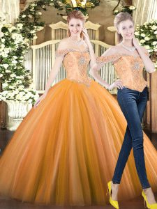 Custom Fit Orange Red Tulle Lace Up Sweet 16 Dresses Sleeveless Floor Length Beading