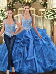 Best Selling Blue Ball Gowns Tulle Straps Sleeveless Beading and Ruffles Floor Length Lace Up Sweet 16 Dresses