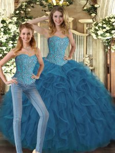 Clearance Floor Length Ball Gowns Sleeveless Teal 15 Quinceanera Dress Lace Up