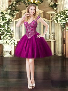 Pretty Sleeveless Tulle Mini Length Lace Up in Fuchsia with Beading