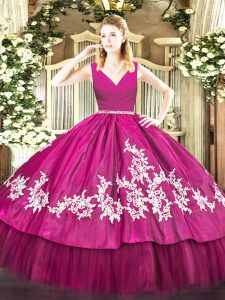 Colorful Ball Gowns Quinceanera Gowns Fuchsia V-neck Satin and Tulle Sleeveless Floor Length Zipper