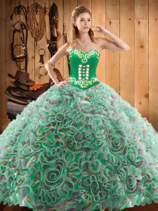 Great Multi-color Ball Gowns Embroidery Sweet 16 Quinceanera Dress Lace Up Satin and Fabric With Rolling Flowers Sleeveless With Train