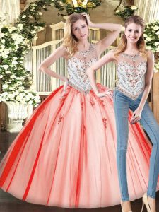 Exquisite Red Scoop Neckline Beading 15 Quinceanera Dress Sleeveless Zipper