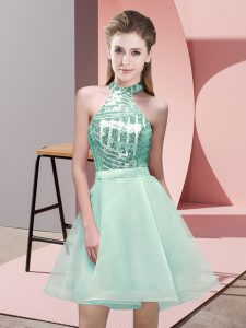 Apple Green Backless Halter Top Sequins Quinceanera Dama Dress Chiffon Sleeveless