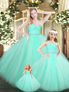 Delicate Apple Green Quince Ball Gowns Military Ball and Sweet 16 and Quinceanera with Beading and Lace Sweetheart Sleeveless Lace Up