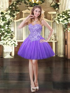 Lavender Ball Gowns Sweetheart Sleeveless Tulle Mini Length Lace Up Appliques Dress for Prom