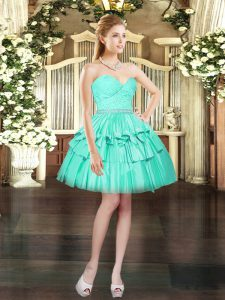Attractive Sleeveless Mini Length Beading and Lace Lace Up Prom Gown with Aqua Blue