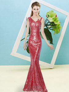 Colorful Sleeveless Sequined Floor Length Zipper Prom Dresses in Red with Sequins