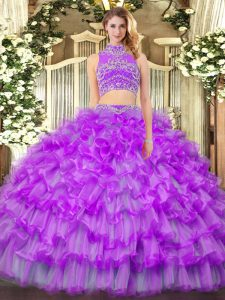 Sumptuous Sleeveless Floor Length Beading and Ruffled Layers Backless Quinceanera Dress with Purple