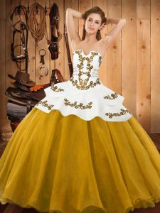 Fine Gold Strapless Lace Up Embroidery 15th Birthday Dress Sleeveless