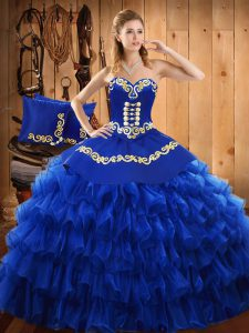 Cheap Sleeveless Floor Length Embroidery and Ruffled Layers Lace Up 15th Birthday Dress with Blue
