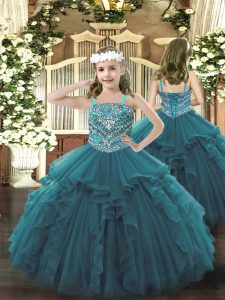 Organza Straps Sleeveless Lace Up Beading and Ruffles Custom Made Pageant Dress in Teal