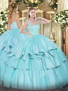 Floor Length Aqua Blue Quinceanera Dress Straps Sleeveless Zipper