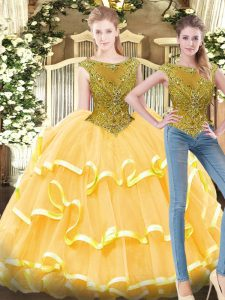 Modest Gold Sleeveless Beading and Ruffled Layers Floor Length 15 Quinceanera Dress