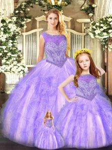 Delicate Scoop Sleeveless Organza Vestidos de Quinceanera Beading and Ruffles Lace Up