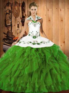 Glorious Olive Green Sleeveless Embroidery and Ruffles Floor Length Sweet 16 Quinceanera Dress
