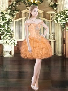Orange Red Ball Gowns Beading and Ruffles Evening Dress Lace Up Organza Sleeveless Mini Length