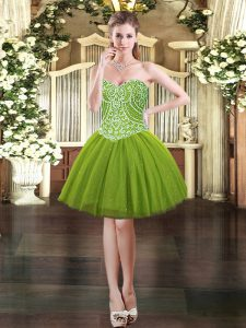Superior Sweetheart Sleeveless Prom Dress Mini Length Beading Olive Green Tulle