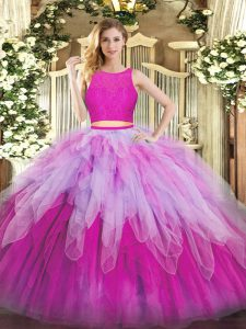 Superior Organza Scoop Sleeveless Zipper Lace and Ruffles Sweet 16 Quinceanera Dress in Fuchsia