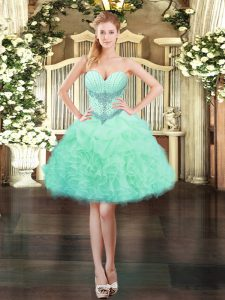 Sleeveless Organza Mini Length Lace Up Prom Dress in Apple Green with Beading and Ruffles