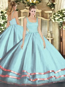Light Blue Ball Gowns Ruffled Layers 15 Quinceanera Dress Zipper Tulle Sleeveless Floor Length