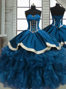 Elegant Blue Sleeveless Floor Length Beading and Ruffles Lace Up Quinceanera Dresses