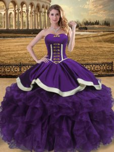 Sleeveless Organza Floor Length Lace Up Sweet 16 Dresses in Purple with Beading and Ruffles