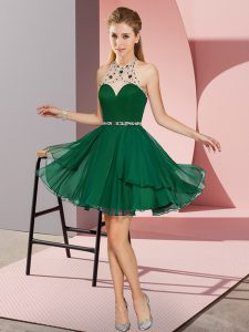 Beautiful Sleeveless Chiffon Mini Length Zipper Prom Evening Gown in Dark Green with Beading