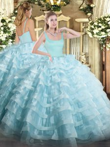 Top Selling Sleeveless Zipper Floor Length Beading and Ruffled Layers 15th Birthday Dress